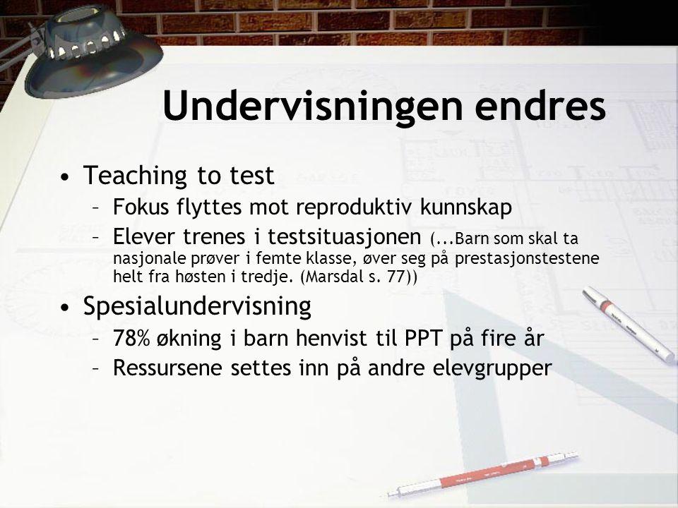 Undervisningen endres Teaching to test –Fokus flyttes mot reproduktiv kunnskap –Elever trenes i testsituasjonen (...Barn som skal ta nasjonale prøver