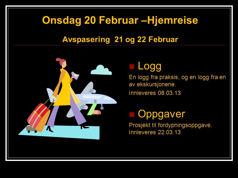Onsdag 20 Februar –Hjemreise Avspasering 21 og 22 Februar Logg En logg fra praksis, og en logg fra en av ekskursjonene. Innleveres 08.03.13 Oppgaver P