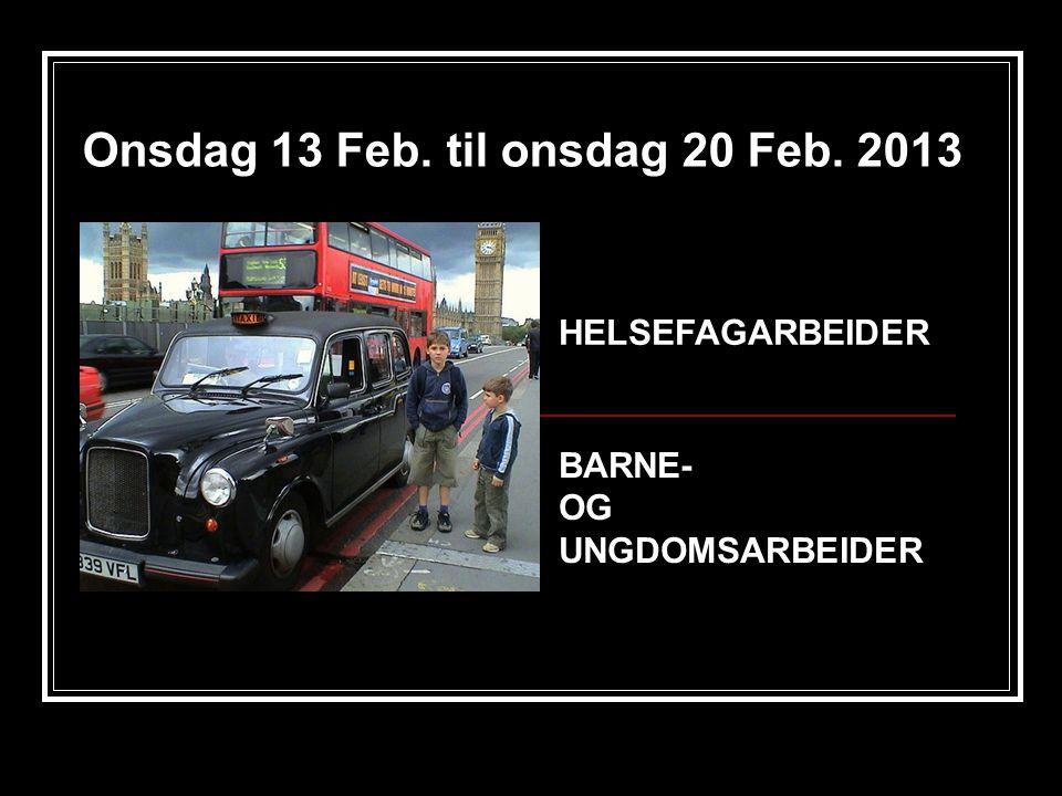 Onsdag 13 Feb. til onsdag 20 Feb. 2013 BARNE- OG UNGDOMSARBEIDER HELSEFAGARBEIDER