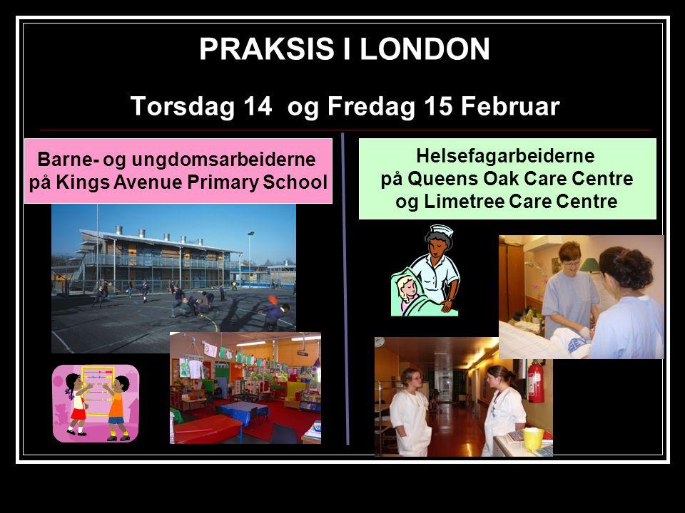 PRAKSIS I LONDON Torsdag 14 og Fredag 15 Februar Barne- og ungdomsarbeiderne på Kings Avenue Primary School Helsefagarbeiderne på Queens Oak Care Centre og Limetree Care Centre