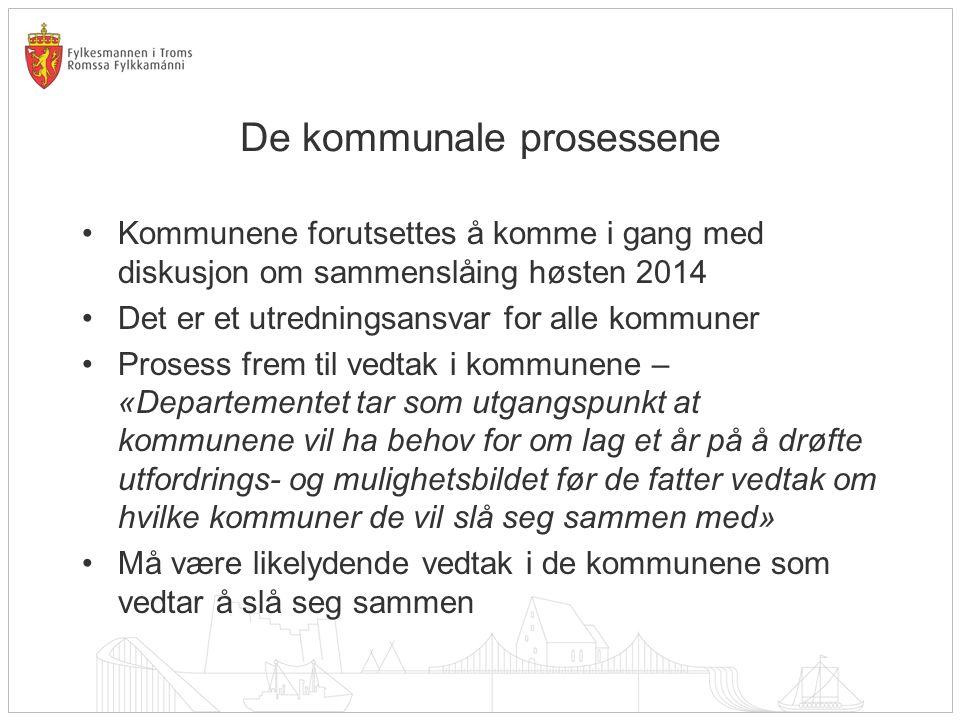 Løp 1 Omfatter i utgangspunktet kommuner som vedtar sammenslåing senest høsten 2015 Det må gjøres nødvendige avklaringer i.f.t.