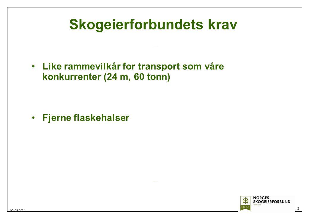 Skogeierforbundets krav Like rammevilkår for transport som våre konkurrenter (24 m, 60 tonn) Fjerne flaskehalser 2 02.09.2014