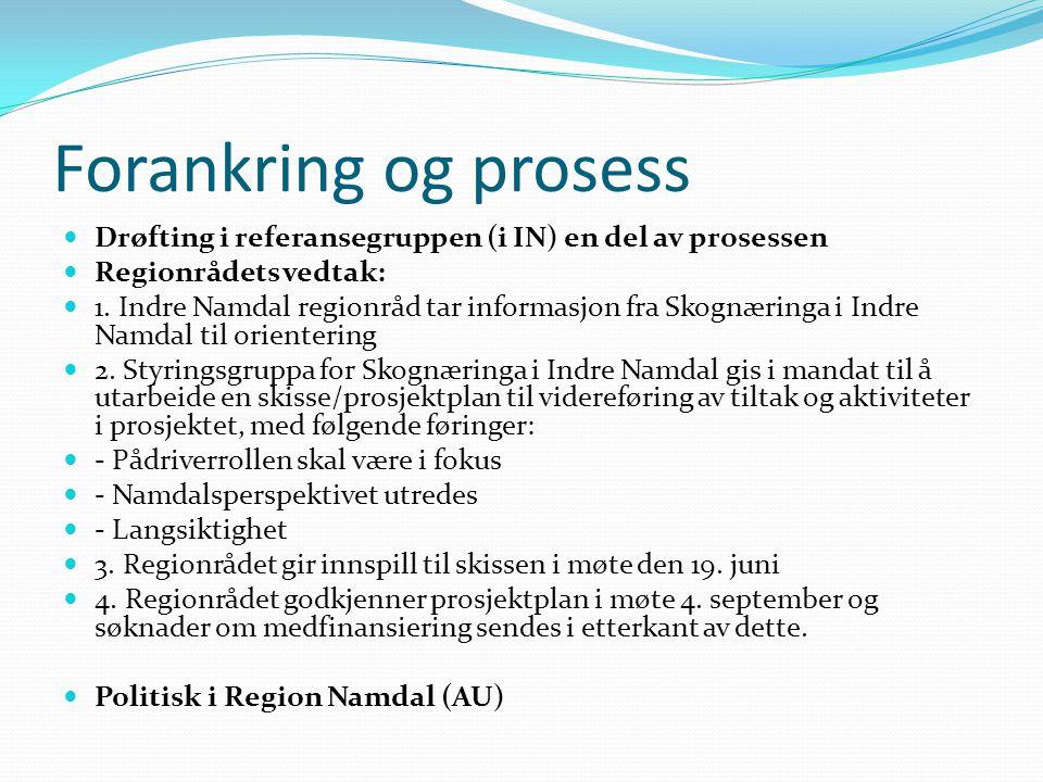 Forankring og prosess Drøfting i referansegruppen (i IN) en del av prosessen Regionrådets vedtak: 1. Indre Namdal regionråd tar informasjon fra Skognæ