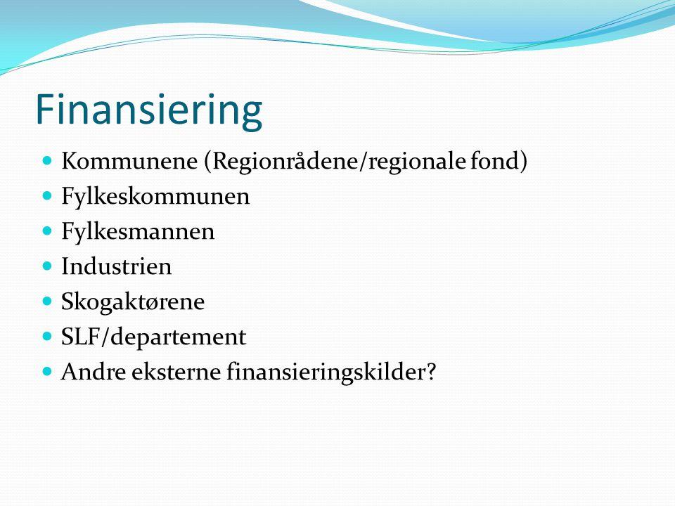Finansiering Kommunene (Regionrådene/regionale fond) Fylkeskommunen Fylkesmannen Industrien Skogaktørene SLF/departement Andre eksterne finansieringskilder