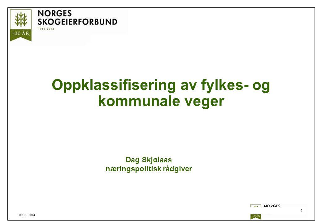1 02.09.2014 Oppklassifisering av fylkes- og kommunale veger Dag Skjølaas næringspolitisk rådgiver