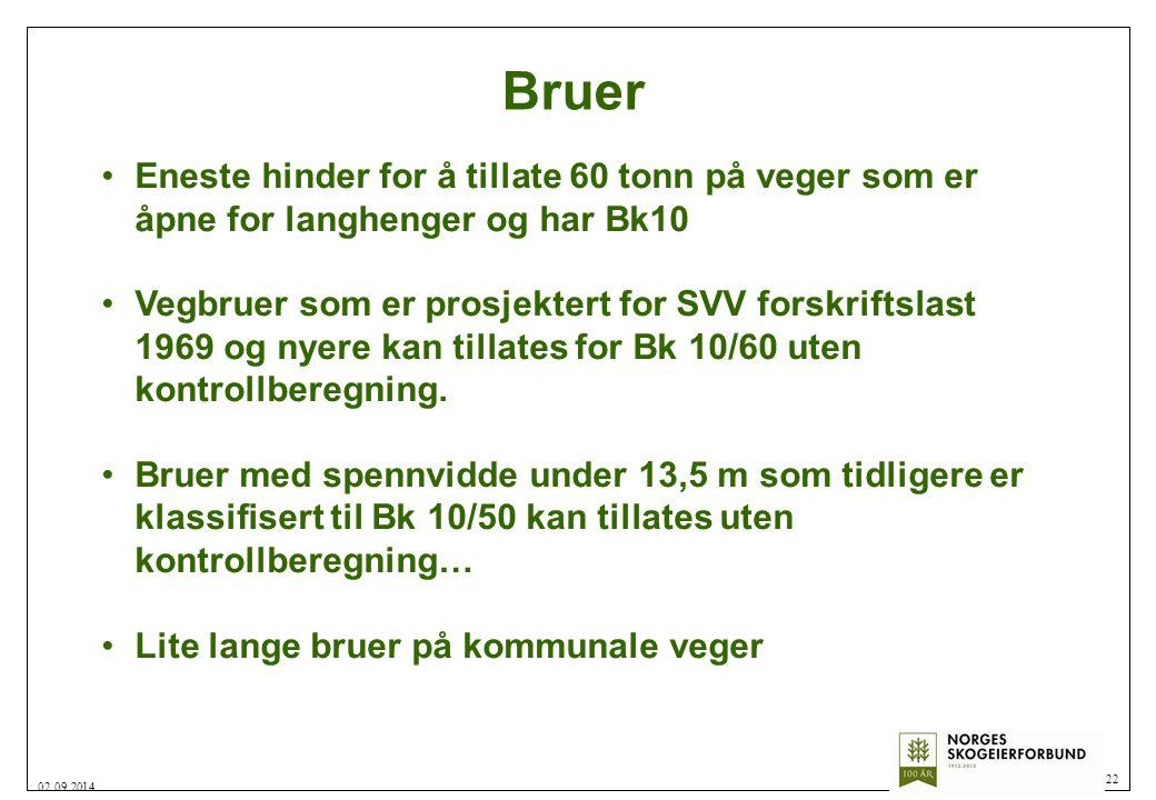 Bruer 22 02.09.2014 Eneste hinder for å tillate 60 tonn på veger som er åpne for langhenger og har Bk10 Vegbruer som er prosjektert for SVV forskrifts