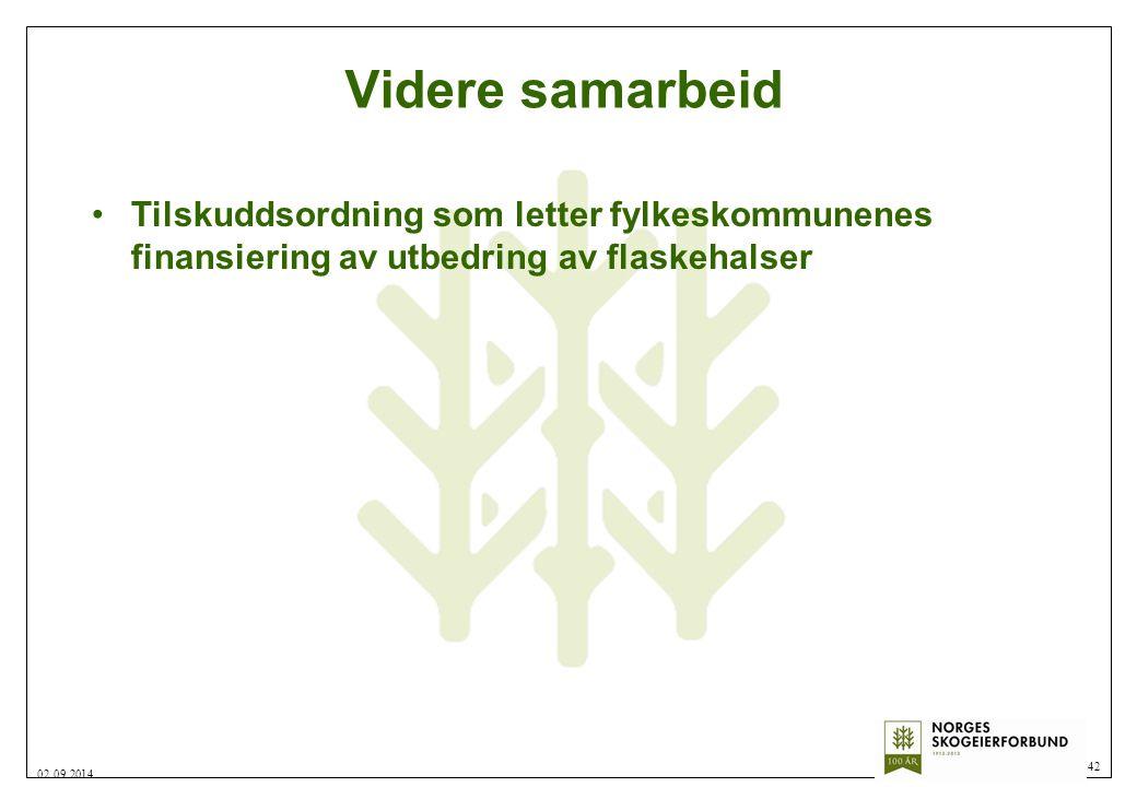 Videre samarbeid 42 02.09.2014 Tilskuddsordning som letter fylkeskommunenes finansiering av utbedring av flaskehalser