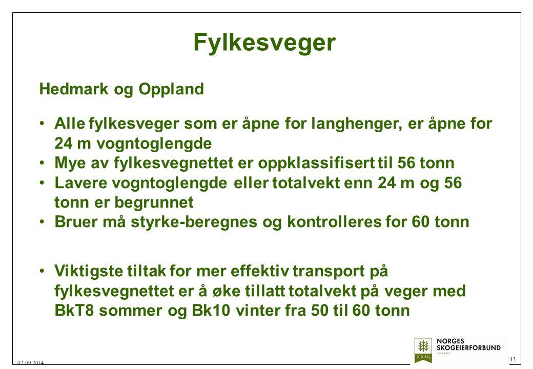 Fylkesveger 43 02.09.2014 Hedmark og Oppland Alle fylkesveger som er åpne for langhenger, er åpne for 24 m vogntoglengde Mye av fylkesvegnettet er opp