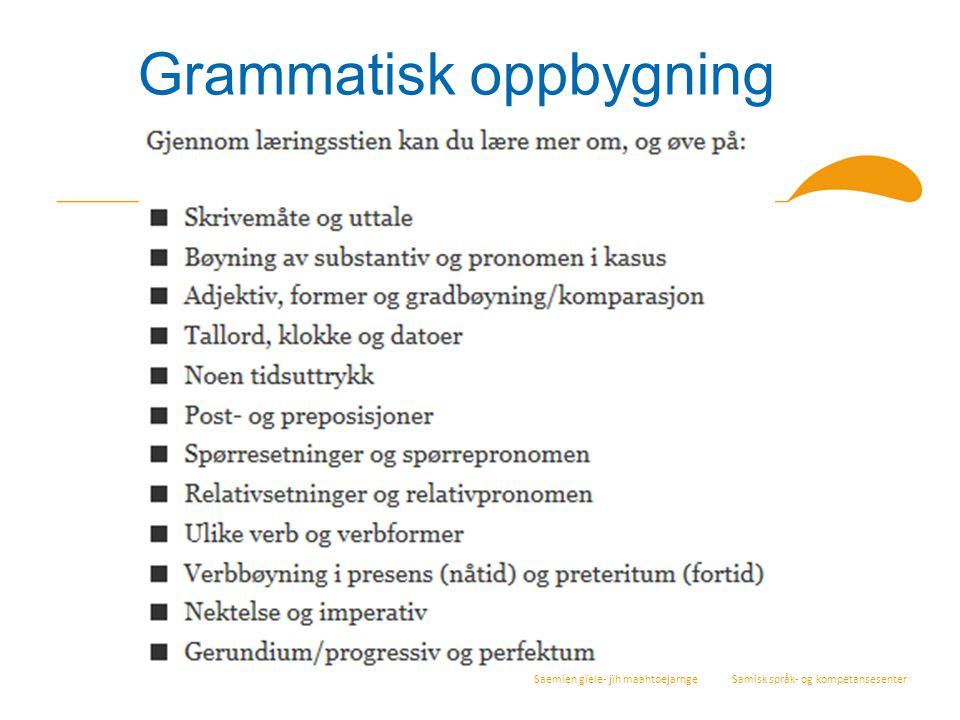 Saemien gïele- jïh maahtoejarnge Samisk språk- og kompetansesenter Grammatisk oppbygning
