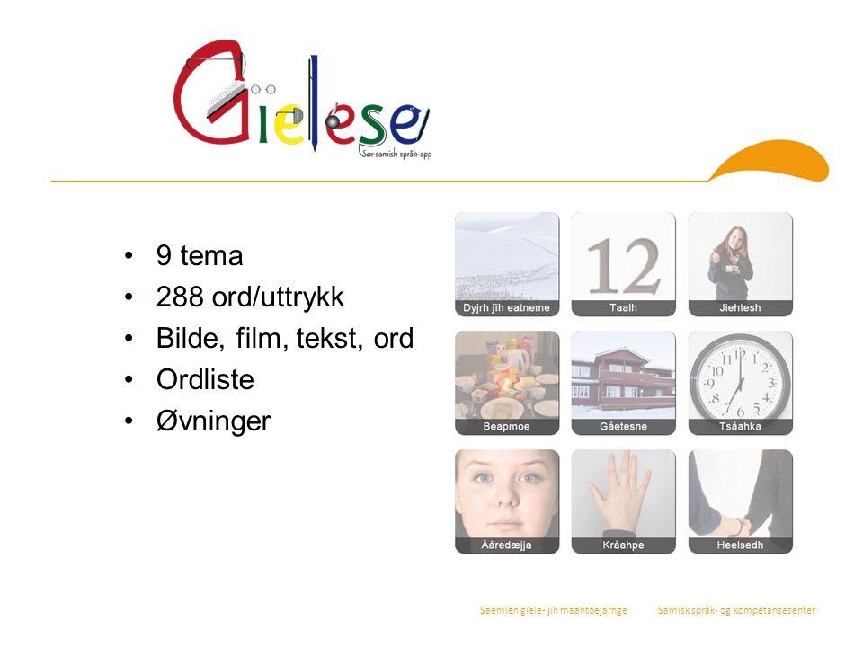 Saemien gïele- jïh maahtoejarnge Samisk språk- og kompetansesenter 9 tema 288 ord/uttrykk Bilde, film, tekst, ord Ordliste Øvninger