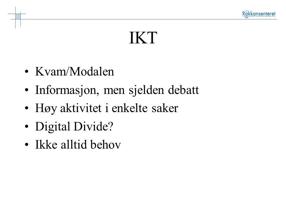 IKT Kvam/Modalen Informasjon, men sjelden debatt Høy aktivitet i enkelte saker Digital Divide.