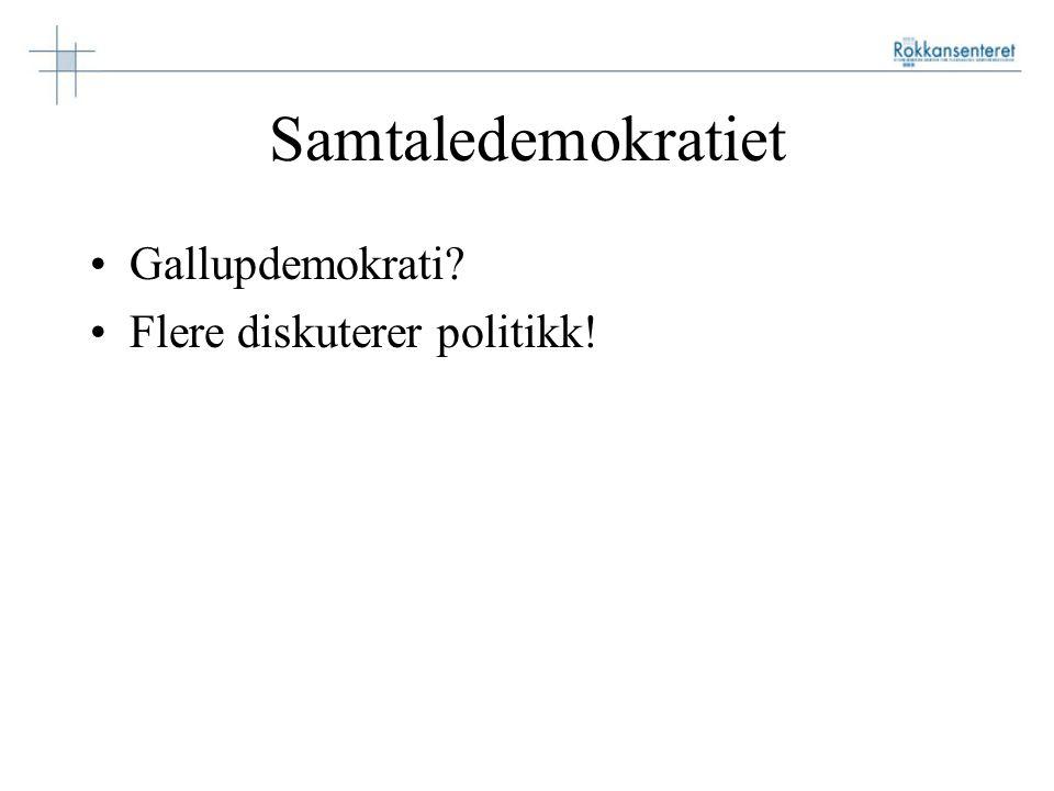 Samtaledemokratiet Gallupdemokrati Flere diskuterer politikk!