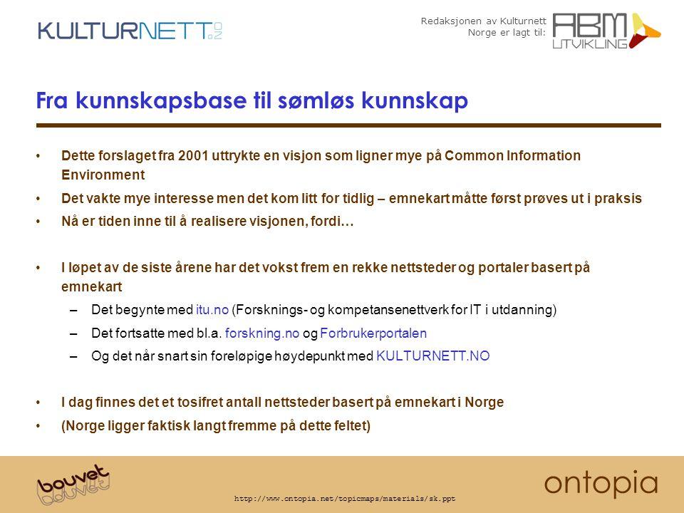 Redaksjonen av Kulturnett Norge er lagt til: ontopia http://www.ontopia.net/topicmaps/materials/sk.ppt Fra kunnskapsbase til sømløs kunnskap Dette forslaget fra 2001 uttrykte en visjon som ligner mye på Common Information Environment Det vakte mye interesse men det kom litt for tidlig – emnekart måtte først prøves ut i praksis Nå er tiden inne til å realisere visjonen, fordi… I løpet av de siste årene har det vokst frem en rekke nettsteder og portaler basert på emnekart –Det begynte med itu.no (Forsknings- og kompetansenettverk for IT i utdanning) –Det fortsatte med bl.a.