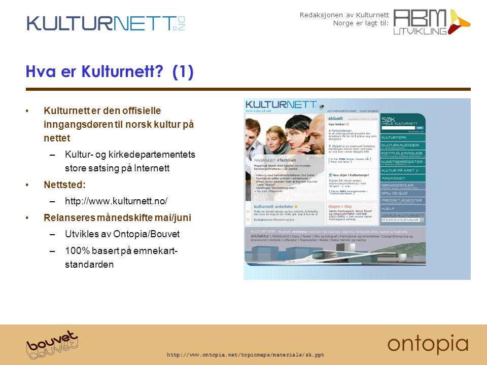 Redaksjonen av Kulturnett Norge er lagt til: ontopia http://www.ontopia.net/topicmaps/materials/sk.ppt Noen emnekartportaler i Norge I produksjon http://www.itu.no http://www.luna.itu.no (Utdanningsdepartementet) http://www.forskning.no http://www.nysgjerrigper.no (Forskningsrådet og partnere) http://forbrukerportalen.no (Forbrukerrådet) http://www.skifte.no (Forsvaret) http://www.hoyre.no++ (Partiet Høyre) http://matportalen.no (Landbruksdepartementet) http://www.udi.no (Justisdepartementet) Under utvikling Skatteetaten Statsministerens kontor Statistisk Sentralbyrå IFE/Halden Kulturnett Norge For den fulle historien om fremveksten av emnekartportalene i Norge kom på seminaret SØMLØS KUNNSKAP MED EMNEKART som arrangeres av ABM-utvikling i september