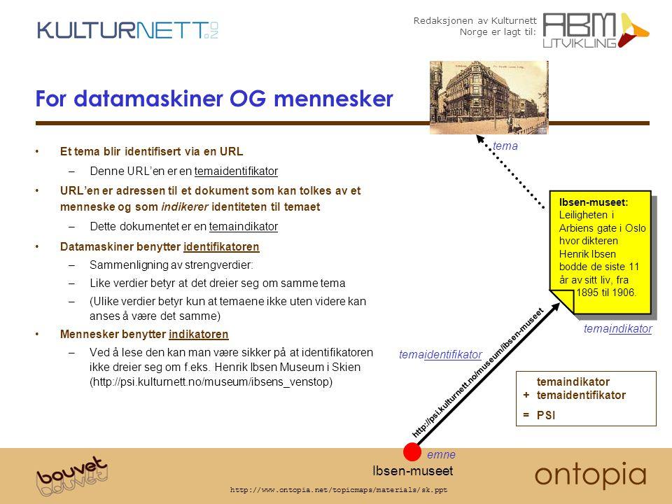 Redaksjonen av Kulturnett Norge er lagt til: ontopia http://www.ontopia.net/topicmaps/materials/sk.ppt For datamaskiner OG mennesker Et tema blir identifisert via en URL –Denne URL'en er en temaidentifikator URL'en er adressen til et dokument som kan tolkes av et menneske og som indikerer identiteten til temaet –Dette dokumentet er en temaindikator Datamaskiner benytter identifikatoren –Sammenligning av strengverdier: –Like verdier betyr at det dreier seg om samme tema –(Ulike verdier betyr kun at temaene ikke uten videre kan anses å være det samme) Mennesker benytter indikatoren –Ved å lese den kan man være sikker på at identifikatoren ikke dreier seg om f.eks.