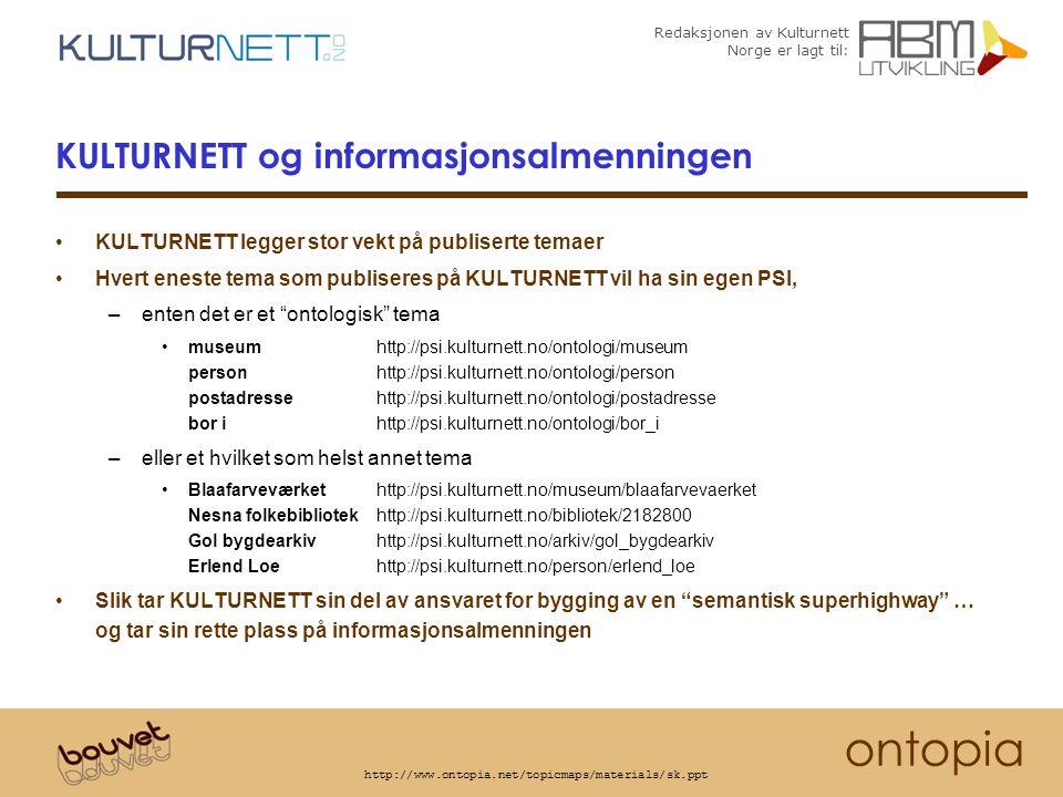 Redaksjonen av Kulturnett Norge er lagt til: ontopia http://www.ontopia.net/topicmaps/materials/sk.ppt KULTURNETT og informasjonsalmenningen KULTURNETT legger stor vekt på publiserte temaer Hvert eneste tema som publiseres på KULTURNETT vil ha sin egen PSI, –enten det er et ontologisk tema museumhttp://psi.kulturnett.no/ontologi/museum personhttp://psi.kulturnett.no/ontologi/person postadressehttp://psi.kulturnett.no/ontologi/postadresse bor ihttp://psi.kulturnett.no/ontologi/bor_i –eller et hvilket som helst annet tema Blaafarveværkethttp://psi.kulturnett.no/museum/blaafarvevaerket Nesna folkebibliotekhttp://psi.kulturnett.no/bibliotek/2182800 Gol bygdearkivhttp://psi.kulturnett.no/arkiv/gol_bygdearkiv Erlend Loehttp://psi.kulturnett.no/person/erlend_loe Slik tar KULTURNETT sin del av ansvaret for bygging av en semantisk superhighway … og tar sin rette plass på informasjonsalmenningen