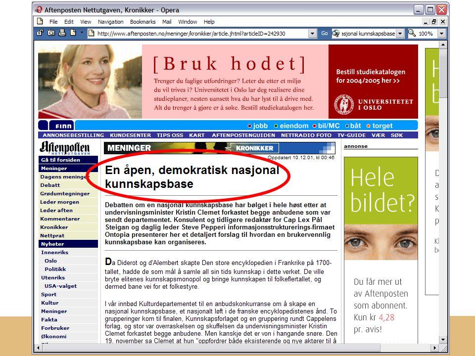 Redaksjonen av Kulturnett Norge er lagt til: ontopia http://www.ontopia.net/topicmaps/materials/sk.ppt Til slutt… Cato d.e.