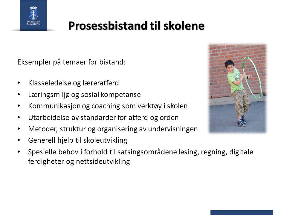 Prosessbistand til skolene Eksempler på temaer for bistand: Klasseledelse og læreratferd Læringsmiljø og sosial kompetanse Kommunikasjon og coaching s