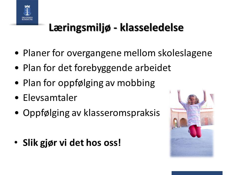 Læringsmiljø - klasseledelse Planer for overgangene mellom skoleslagene Plan for det forebyggende arbeidet Plan for oppfølging av mobbing Elevsamtaler