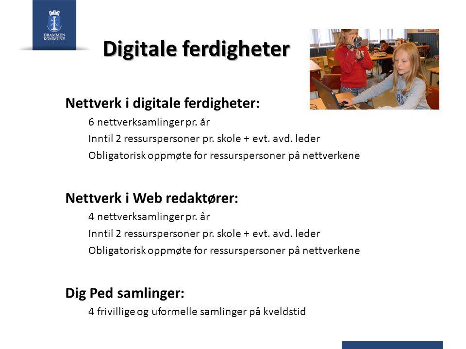 Digitale ferdigheter Nettverk i digitale ferdigheter: 6 nettverksamlinger pr. år Inntil 2 ressurspersoner pr. skole + evt. avd. leder Obligatorisk opp