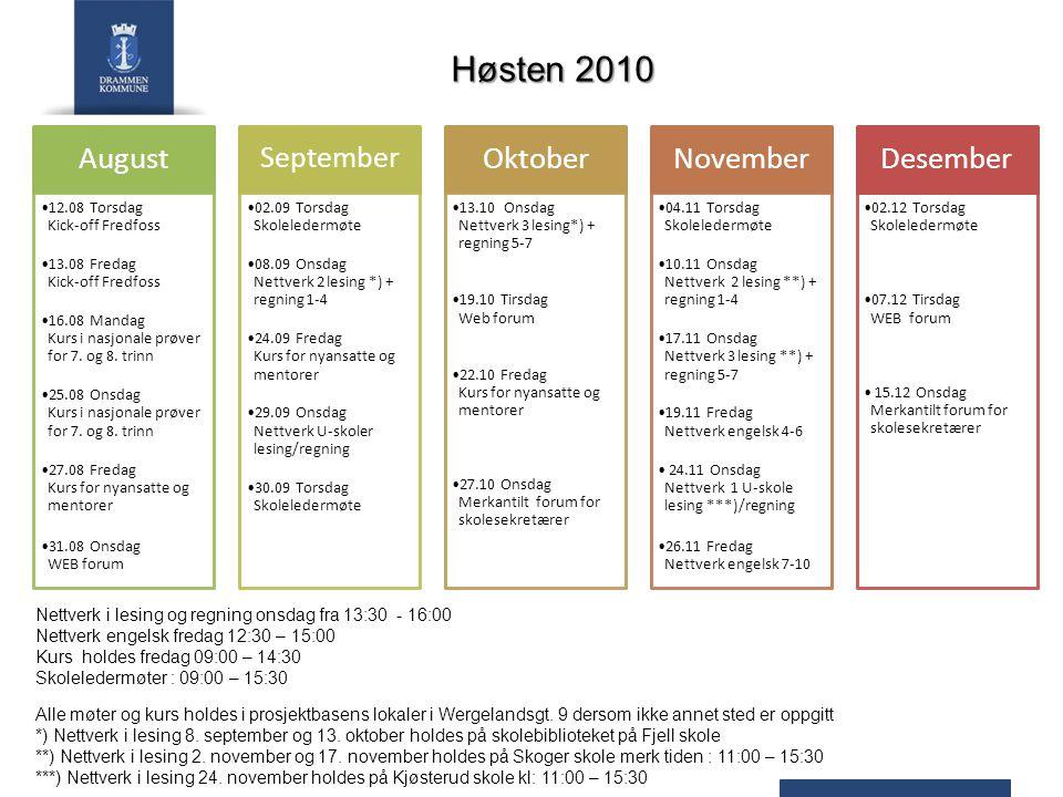 Høsten 2010 Alle møter og kurs holdes i prosjektbasens lokaler i Wergelandsgt.