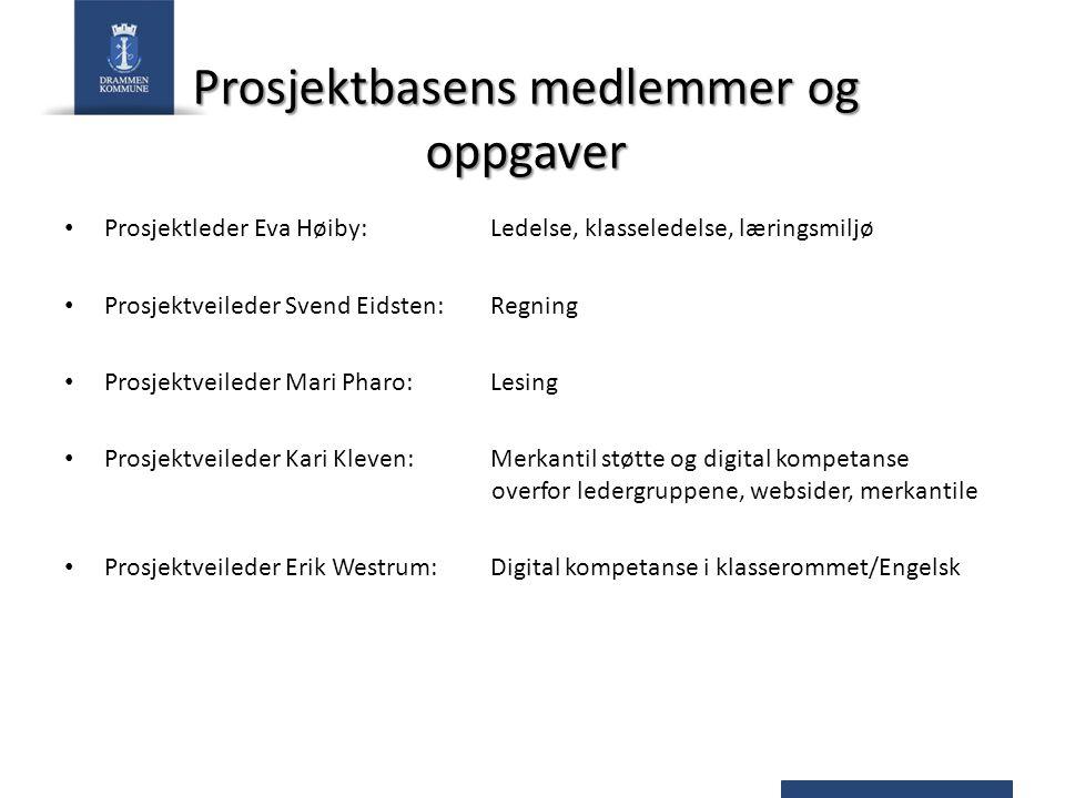 Prosjektbasens medlemmer og oppgaver Prosjektleder Eva Høiby: Ledelse, klasseledelse, læringsmiljø Prosjektveileder Svend Eidsten: Regning Prosjektvei