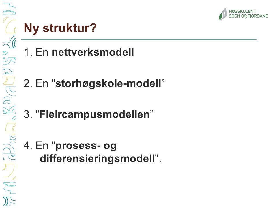 Ny struktur. 1. En nettverksmodell 2. En storhøgskole-modell 3.