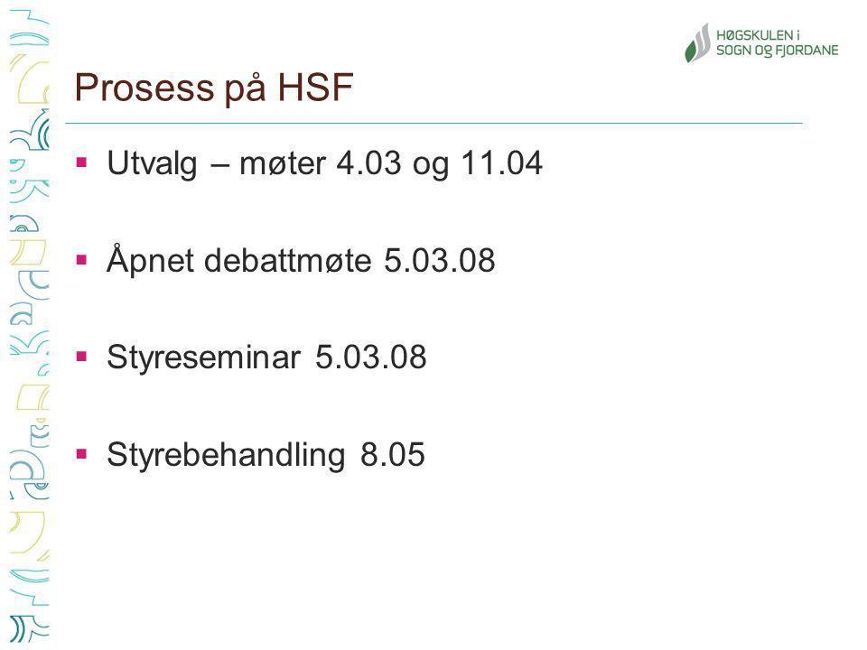 Prosess på HSF  Utvalg – møter 4.03 og 11.04  Åpnet debattmøte 5.03.08  Styreseminar 5.03.08  Styrebehandling 8.05