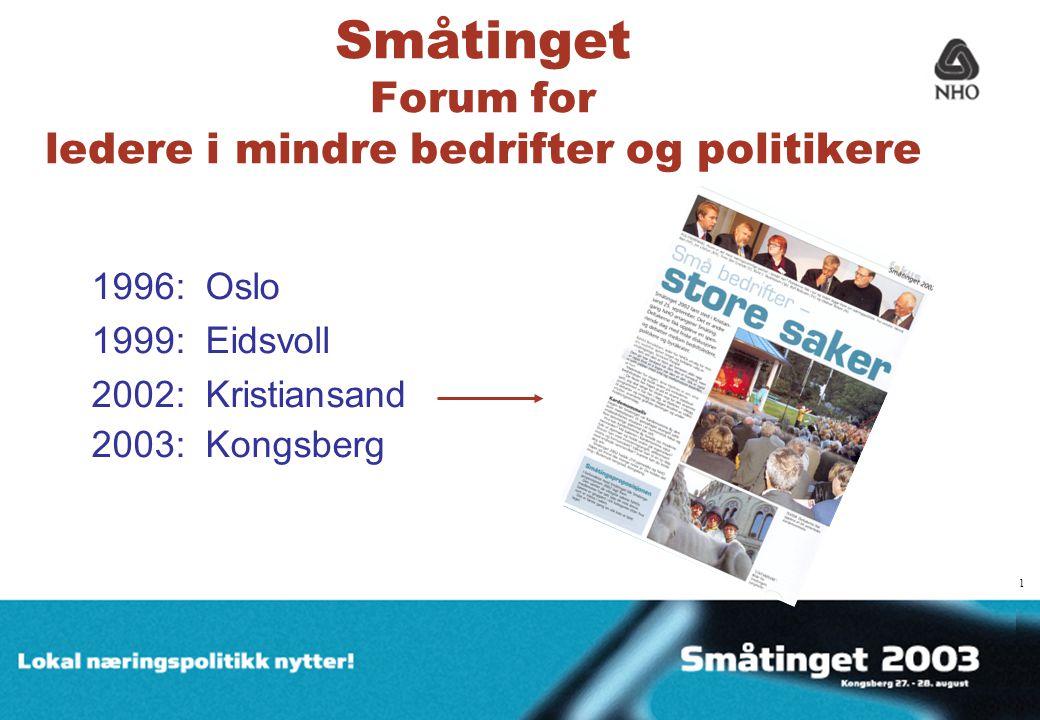1 Småtinget Forum for ledere i mindre bedrifter og politikere 1996: Oslo 1999: Eidsvoll 2002: Kristiansand 2003: Kongsberg 1