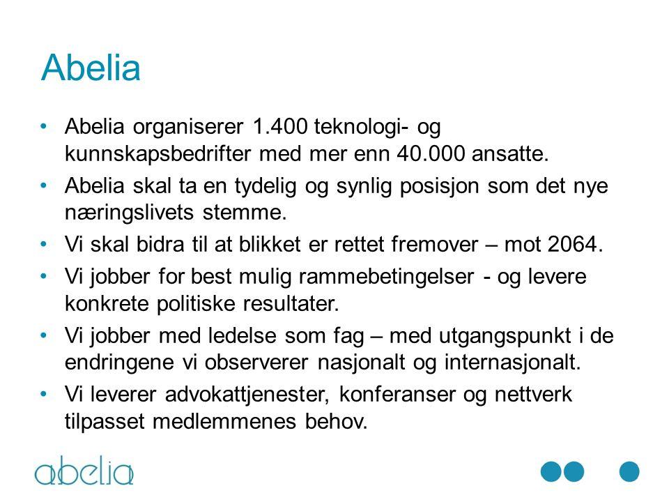 Abelia Abelia organiserer 1.400 teknologi- og kunnskapsbedrifter med mer enn 40.000 ansatte.