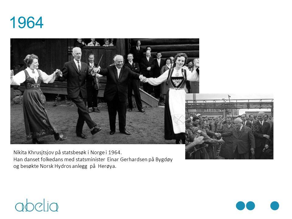 Nikita Khrusjtsjov på statsbesøk i Norge i 1964. Han danset folkedans med statsminister Einar Gerhardsen på Bygdøy og besøkte Norsk Hydros anlegg på H