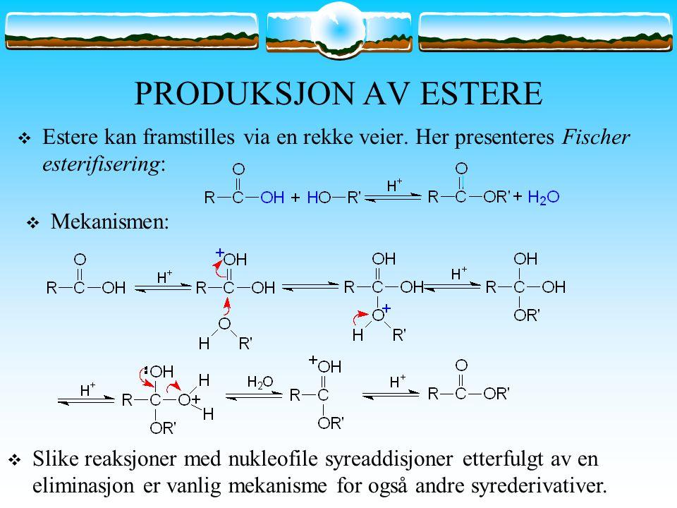 PRODUKSJON AV ESTERE  Estere kan framstilles via en rekke veier. Her presenteres Fischer esterifisering:  Mekanismen:  Slike reaksjoner med nukleof