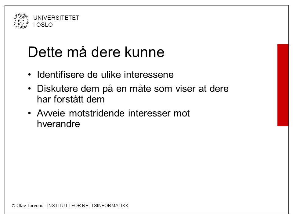 © Olav Torvund - INSTITUTT FOR RETTSINFORMATIKK UNIVERSITETET I OSLO Interesseavveining Ytringsfrihet Diskriminering Personvern Farlige ytringer