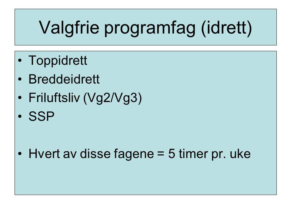 Valgfrie programfag (idrett) Toppidrett Breddeidrett Friluftsliv (Vg2/Vg3) SSP Hvert av disse fagene = 5 timer pr. uke
