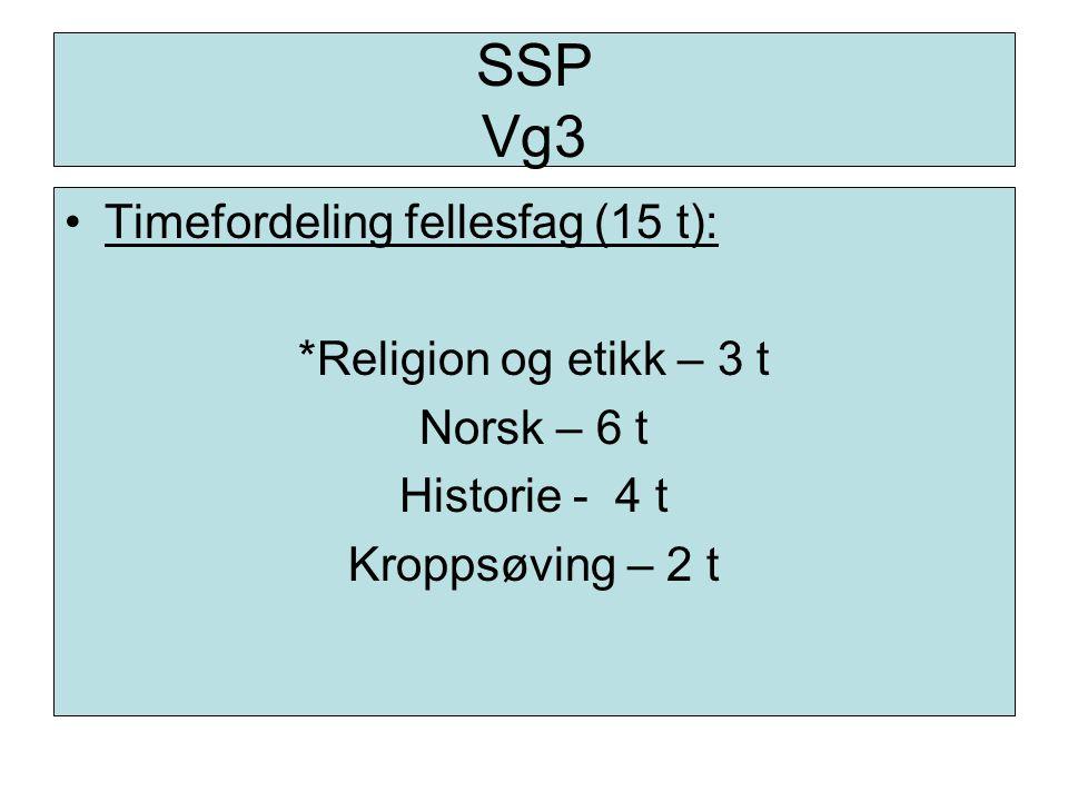 SSP Vg3 Timefordeling fellesfag (15 t): *Religion og etikk – 3 t Norsk – 6 t Historie - 4 t Kroppsøving – 2 t