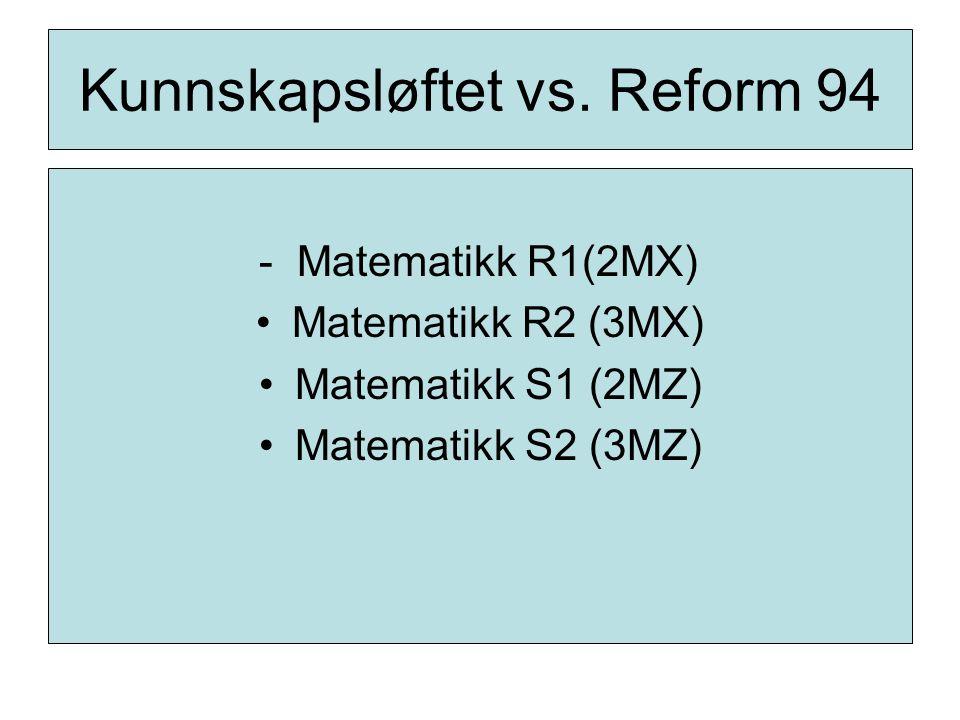 Kunnskapsløftet vs. Reform 94 - Matematikk R1(2MX) Matematikk R2 (3MX) Matematikk S1 (2MZ) Matematikk S2 (3MZ)