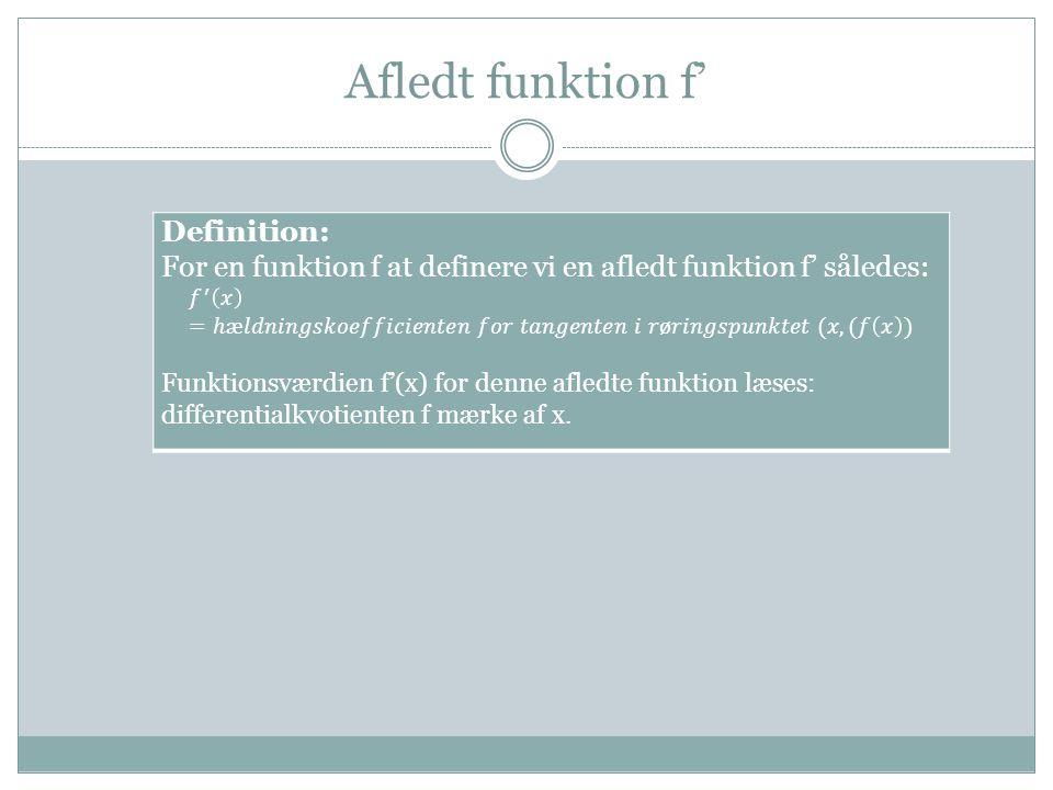 Afledt funktion f'