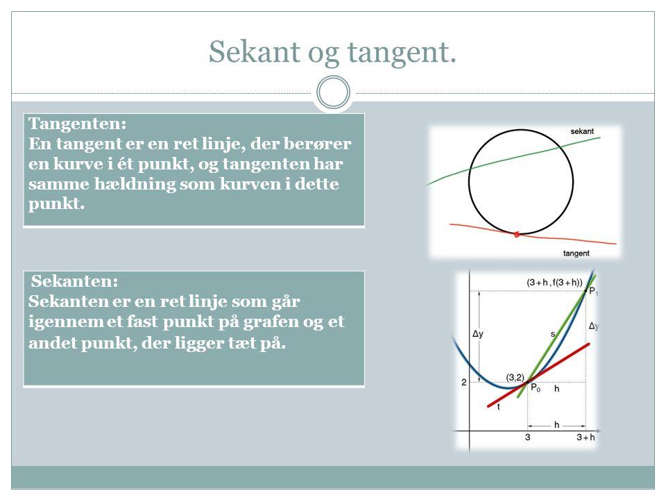 Sekant og tangent. Tangenten: En tangent er en ret linje, der berører en kurve i ét punkt, og tangenten har samme hældning som kurven i dette punkt. S