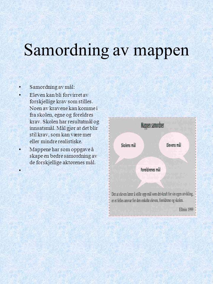 Samordning av mappen Samordning av mål: Eleven kan bli forvirret av forskjellige krav som stilles. Noen av kravene kan komme i fra skolen, egne og for