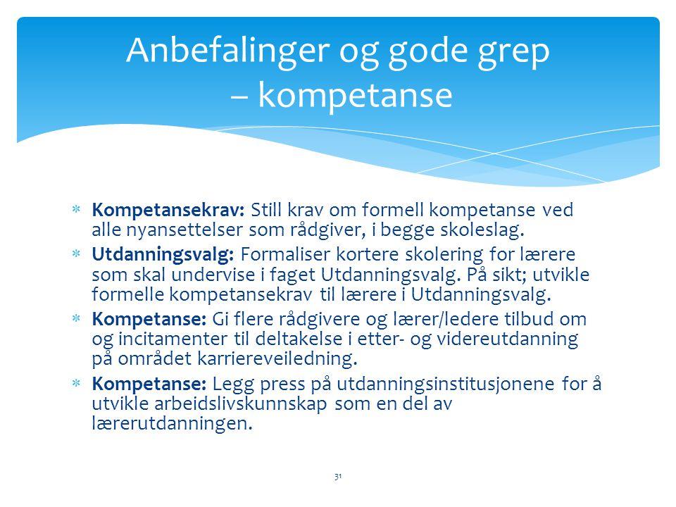  Kompetansekrav: Still krav om formell kompetanse ved alle nyansettelser som rådgiver, i begge skoleslag.