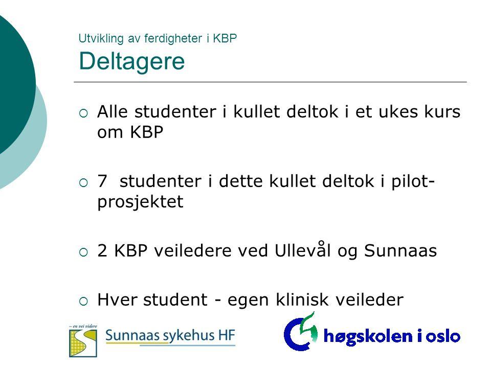 Utvikling av ferdigheter i KBP Deltagere  Alle studenter i kullet deltok i et ukes kurs om KBP  7 studenter i dette kullet deltok i pilot- prosjekte