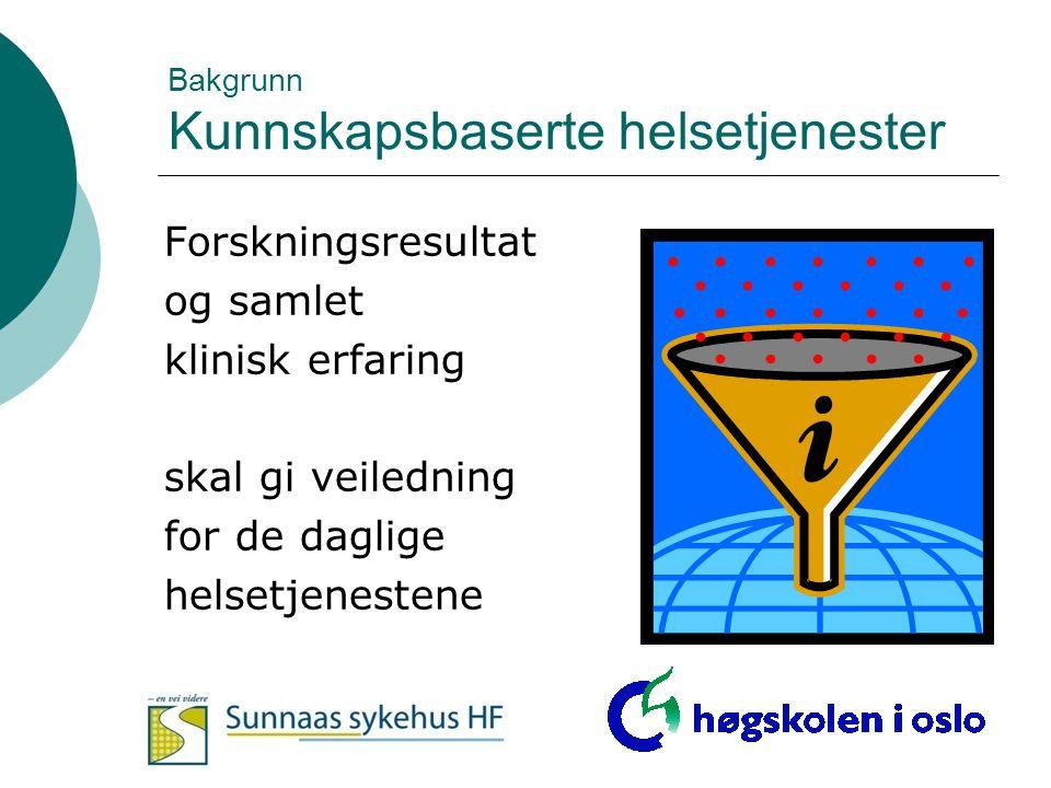 I.Refleksjon i profesjonell praksis: Anerkjenne og identifisere informasjonsbehov II.