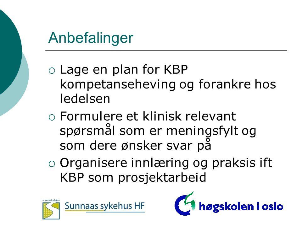 Anbefalinger  Lage en plan for KBP kompetanseheving og forankre hos ledelsen  Formulere et klinisk relevant spørsmål som er meningsfylt og som dere