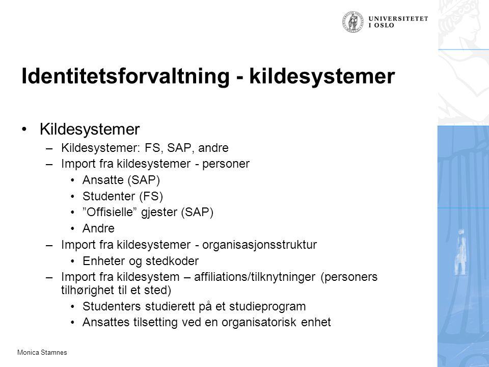 Monica Stamnes Identitetsforvaltning - kildesystemer Kildesystemer –Kildesystemer: FS, SAP, andre –Import fra kildesystemer - personer Ansatte (SAP) S