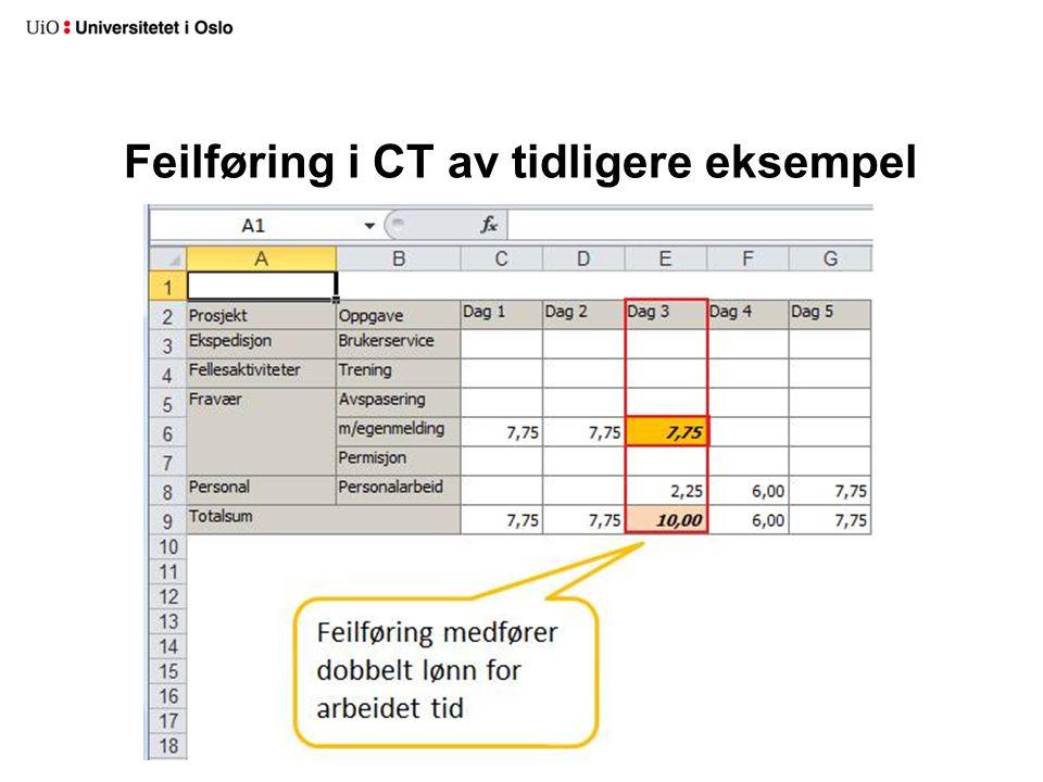 Feilføring i CT av tidligere eksempel