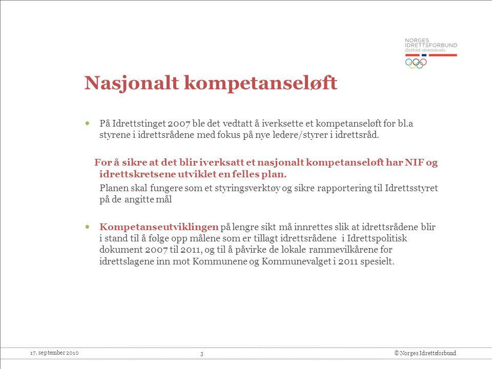 17. september 2010 3© Norges Idrettsforbund Nasjonalt kompetanseløft På Idrettstinget 2007 ble det vedtatt å iverksette et kompetanseløft for bl.a sty