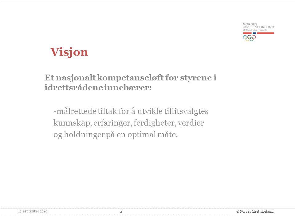 17. september 2010 4© Norges Idrettsforbund Visjon Et nasjonalt kompetanseløft for styrene i idrettsrådene innebærer: -målrettede tiltak for å utvikle
