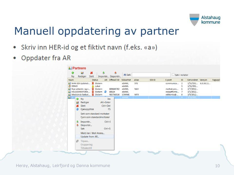 Manuell oppdatering av partner Herøy, Alstahaug, Leirfjord og Dønna kommune 10