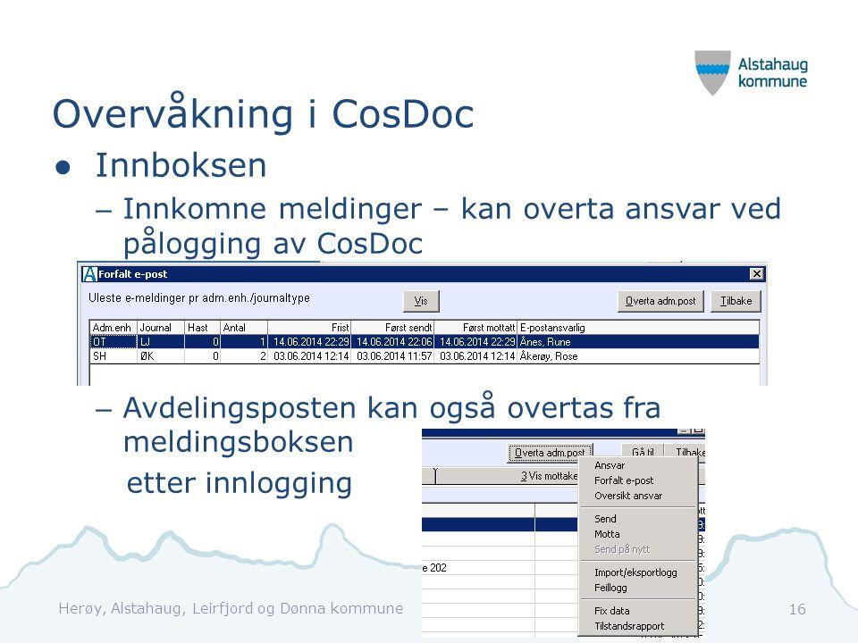 Overvåkning i CosDoc ●Innboksen – Innkomne meldinger – kan overta ansvar ved pålogging av CosDoc – Avdelingsposten kan også overtas fra meldingsboksen