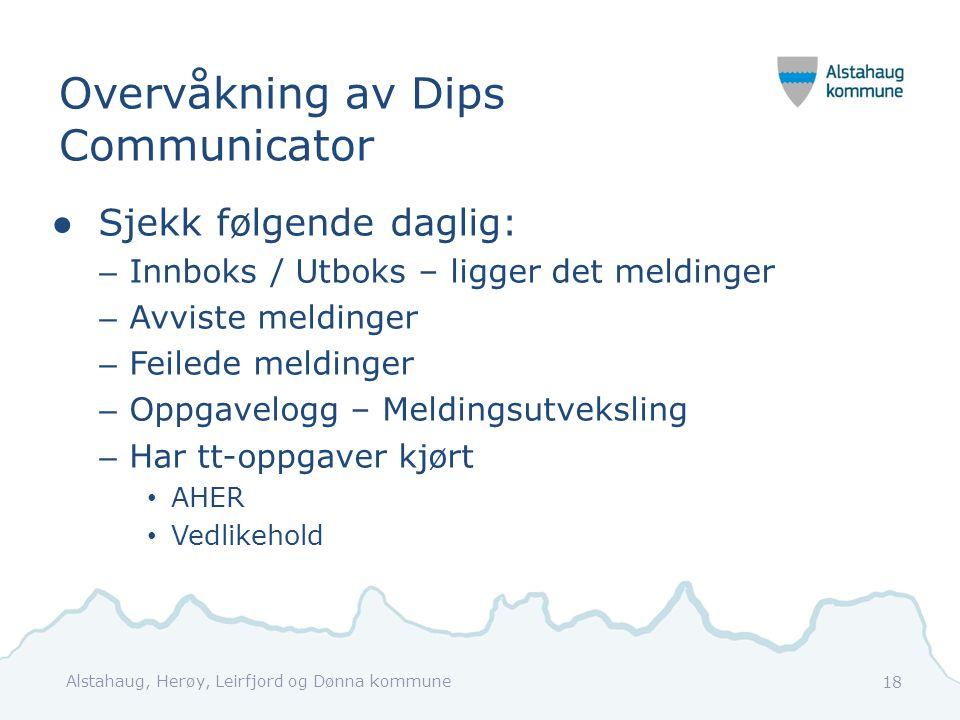 Overvåkning av Dips Communicator ●Sjekk følgende daglig: – Innboks / Utboks – ligger det meldinger – Avviste meldinger – Feilede meldinger – Oppgavelo
